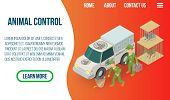 Animal Control Concept Banner. Isometric Banner Of Animal Control Vector Concept For Web, Giftcard A poster