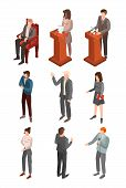 Political Conference Icon Set. Isometric Set Of Political Conference Vector Icons For Web Design Iso poster