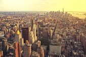 View Of Manhattan From The Top Angle At Sunset. New York City View From The Top. New York City With  poster