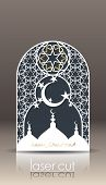 3d Postcard Layout With Islamic Oriental Pattern For Laser Cutting Paper. Indian Heritage, Arabesque poster