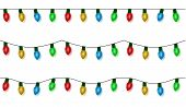 Christmas Lights String Vector, Color Garland Set Isolated On White. Garland Balls Seamless. Hanging poster