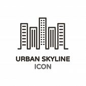 Urban Skyline With Skyscrapper Buildings. Vector Thin Line Minimal Icon For Real Estate, Architectur poster