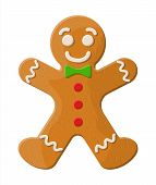 Holiday Gingerbread Man Cookie. Cookie In Shape Of Man With Colored Icing. Happy New Year Decoration poster