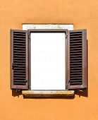 Opened Wooden Window Isolated. Beautiful Old Window Frame With Brown Wooden Shutters And Bright Terr poster