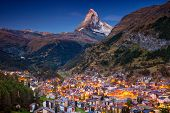 Zermatt. Image Of Iconic Village Of Zermatt, Switzerland With Matterhorn In The Background During Tw poster