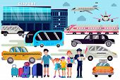 Airport Transfer Vector Traveling People Characters Family With Luggage In Airports Plane Departure  poster