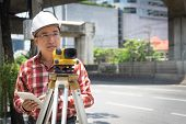 Civil Engineer Land Survey With Tacheometer Or Theodolite Equipment. Worker Checking Construction Si poster