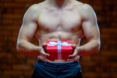 Santa Claus. Fitness Santa Claus Isolated On The Background Of A Brick Wall. Sexy Fitness Santa Clau poster