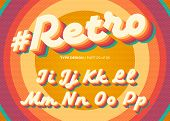 Vector Retro Alphabet Design. Vintage 3d Typeface With Colorful Rainbow Layers. Decorative Letters I poster