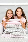 Girls Best Friends Gather In Bedroom For Slumber Party. Domestic Party For Kids. Girls Near Pile Pil poster