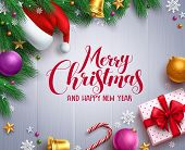 Christmas Vector Banner And Background Template With Merry Christmas Greeting Typography And Colorfu poster
