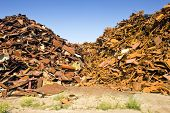 A metal scrap heap, to be recycled into new steel