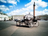 Russia, St. Petersburg City, Tsar Horse Carriage In Front Of Winter Palace Landmark Tourist Attracti poster