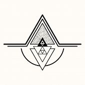Sacred Geometry. The Crossed Linear Triangles. Secret Symbol Of Geometry. Triangular Symbol. Labyrin poster