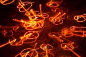 Bouncing Lights, Long Exposure Light Patterns, Light Circles And Lines, Surrounded By Ambient Light, poster
