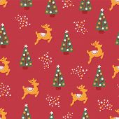 Christmas Trees Reindeer Stars Seamless Repeat Vector Pattern Hand Drawn. Pink Background. For Fabri poster