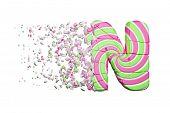 Broken Shattered Alphabet Letter N. Crushed Font Made Of Pink And Green Striped Lollipop. 3d Render  poster