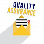 Word Writing Text Quality Assurance. Business Concept For Ensures A Certain Level Of Quality Establi poster
