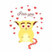 I Love You. Valentines Day Greeting Card. Love Character In Hearts. Cute Monster Or Fantastic Creat poster