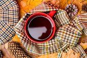 Mug Cozy Aromatic Beverage Scarf And Kepi. Hot Drink For Autumnal Walk. Mug Of Tea Covered Surrounde poster