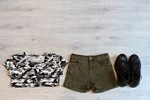 Teen Clothing Set: Green Shorts, T-short And Boots In Military Style poster