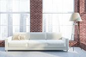 Luxury Living Room Interior With Brick Walls, Concrete Floor, White Sofa With Beige Cushions And A F poster