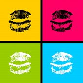 Open Mouth Woman Lips Pop Art Style. Vector Fashion Kitsch Cartoon Sketch Design. Wow Modern Glossy  poster
