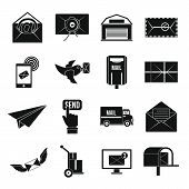 Poste Service Icons Set. Simple Illustration Of 16 Poste Service Icons For Web poster