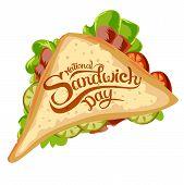 Happy Sandwich Day. Vector Illustration. Hot Sandwich poster