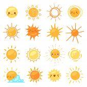 Sun Vector Sunny Icon With Yellow Sunlight And Sunshine Emoticon Illustration Set Of Bright Sunburst poster