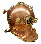 Antique Diver's Helmet isolated with clipping path