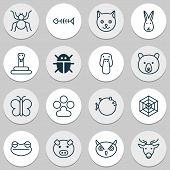 Zoology Icons Set With Fish Bone, Deer, Owl And Other Duck Elements. Isolated  Illustration Zoology  poster