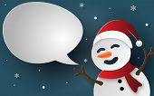 Paper Art, Craft Style Of Snowman With Bubble Speech For Say Something, Craft Style, Merry Christmas poster