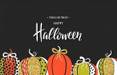 Happy Halloween. Poster With Cute Glamorous Sparkling Pumpkin. Vector Illustration. Design For Greet poster