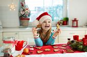 Kids Bake Christmas Cookies. Child Cook For Xmas. poster