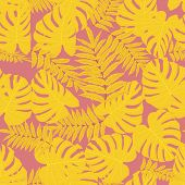 Vector Seamless Tropical Pattern, Bright Tropical Foliage, Monstera Leaves. Modern Bright Summer Pri poster