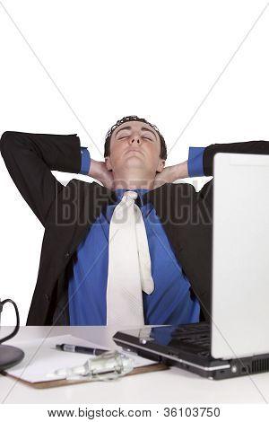 Empresario en su trabajo de escritorio