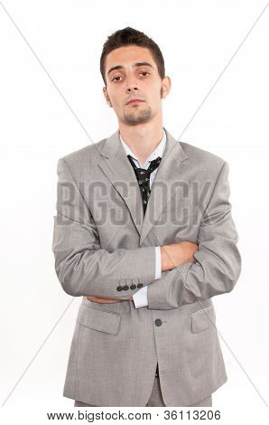 Sad Handsome Young Caucasian Businessman