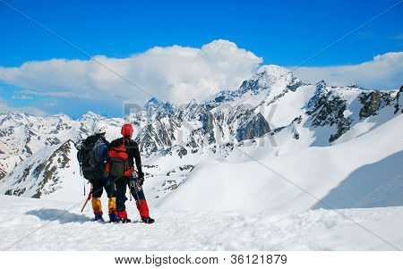 Two climbers on the Himalayan  mountain