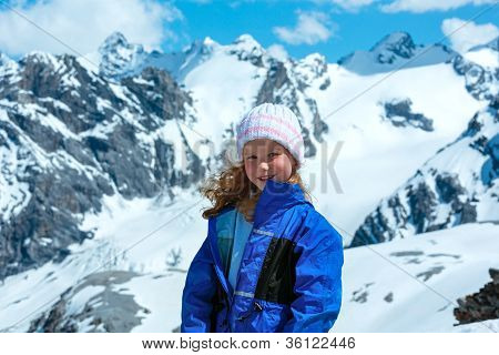 Summer Mountain And Girl Portrait (stelvio Pass, Italy).