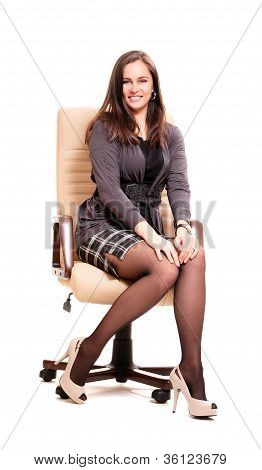 Business Woman In Leather Chair