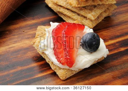 Cracker With Strawberry And Blueberry