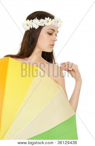Young Woman Profile In Chamomile Wreath With Colorful Umbrella