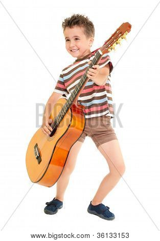 Little Boy Plays Guitar Country Rock Style