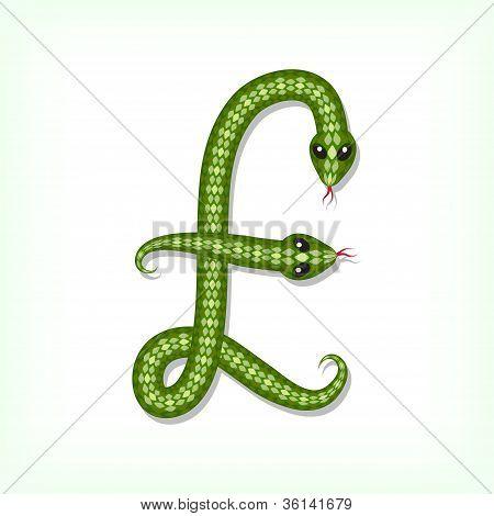 Fonte de Snake. Símbolo de libra