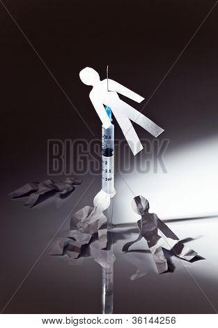A imagem conceitual sobre um tema de dependência narcótica