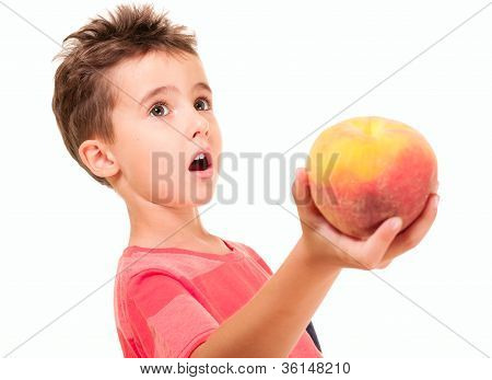 Little Boy Outstretch The Peach