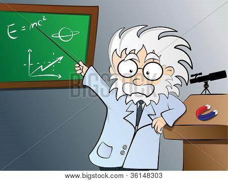 Physics teacher in class