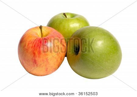 Three Apples On A White