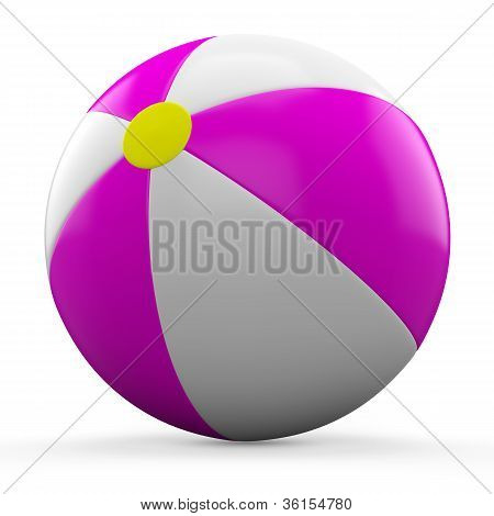 3D Pink and white beach ball isolated on white background.